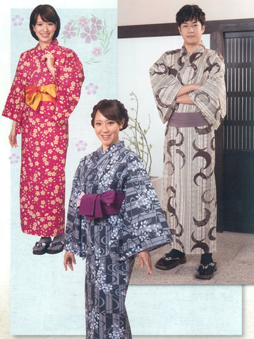 Little Flower (Red) & Old Town (Black) & Crescent Moon (Brown) Yukata Kimono