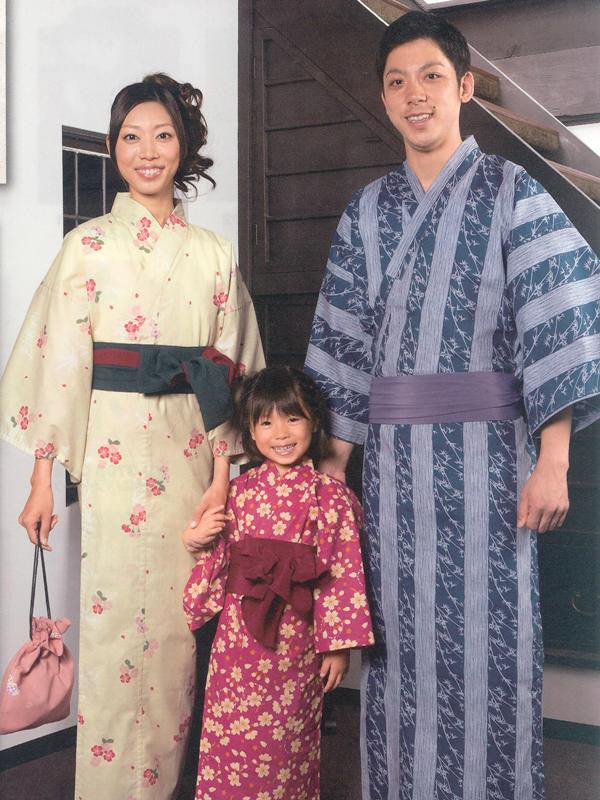 Cherry Blossom (Yellow) & Little Flower (Red) & Bamboo Leaf (Blue) Yukata Kimono