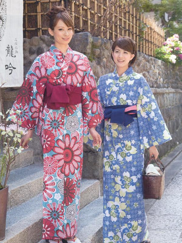 Beautiful Day (Red) & Night Cherry Blossom (Blue) Yukata Kimono