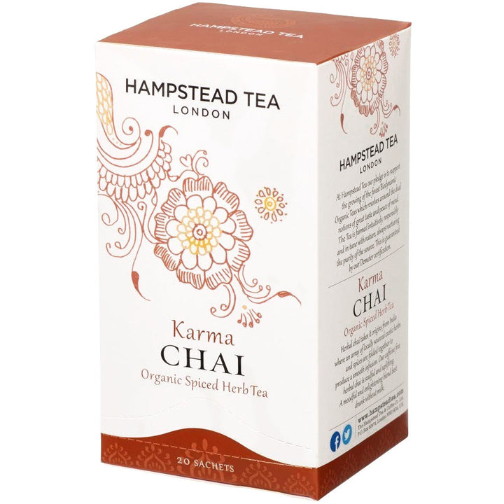 Trade Case of Organic Karma Chai 4x20 Tea Bags - Hampstead Tea - Biodynamic and Organic Teas