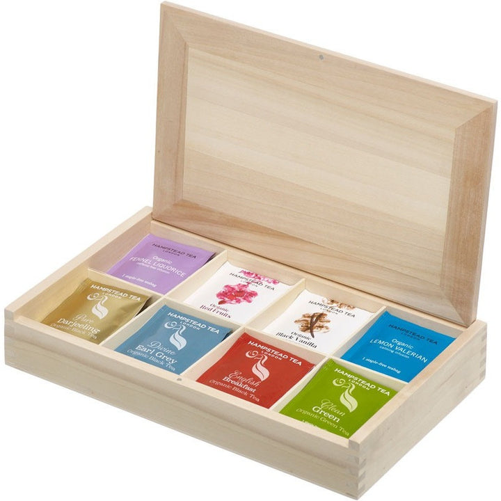 Hampstead Tea Natural wood 8 compartment gift box - Hampstead Tea - Biodynamic and Organic Teas