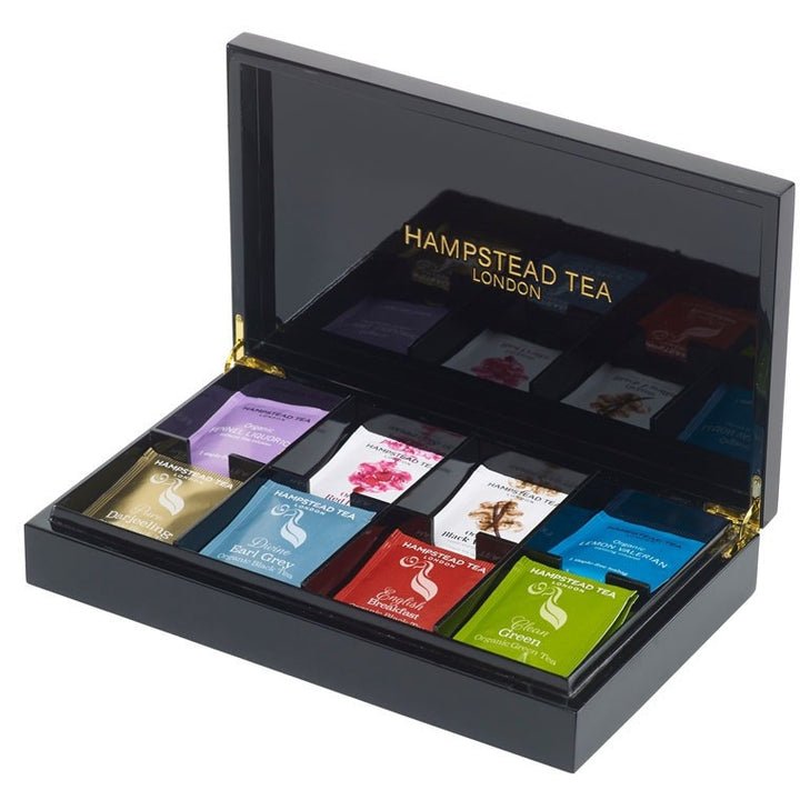 Hampstead Tea Luxury black 8 compartment box - Hampstead Tea - Biodynamic and Organic Teas