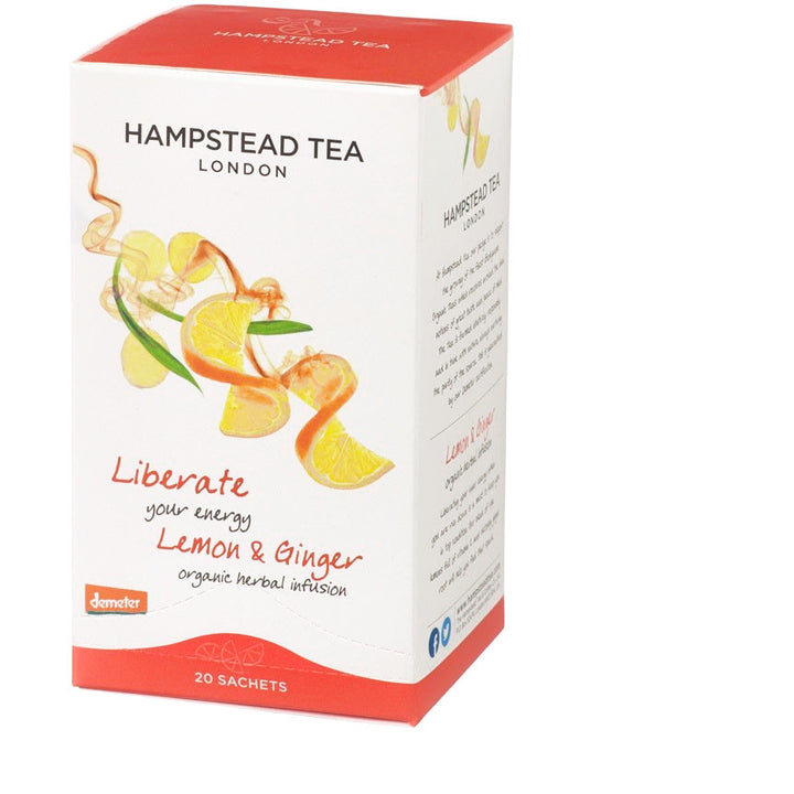 Trade Case of Organic Lemon Ginger 4x20 Tea Bags - Hampstead Tea - Biodynamic and Organic Teas