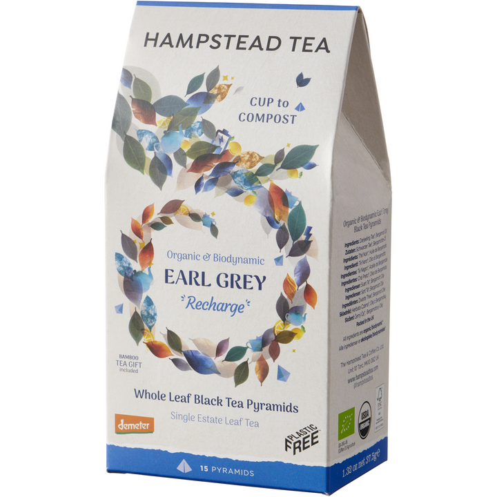 Organic & Biodynamic Earl Grey Home Compostable Pyramids - Hampstead Tea - Biodynamic and Organic Teas