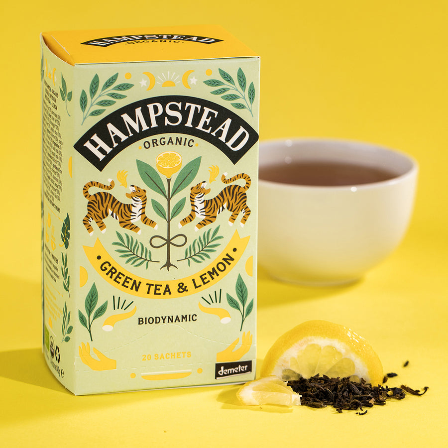 Organic  Lemon Green Tea Bags - Hampstead Tea - Biodynamic and Organic Teas