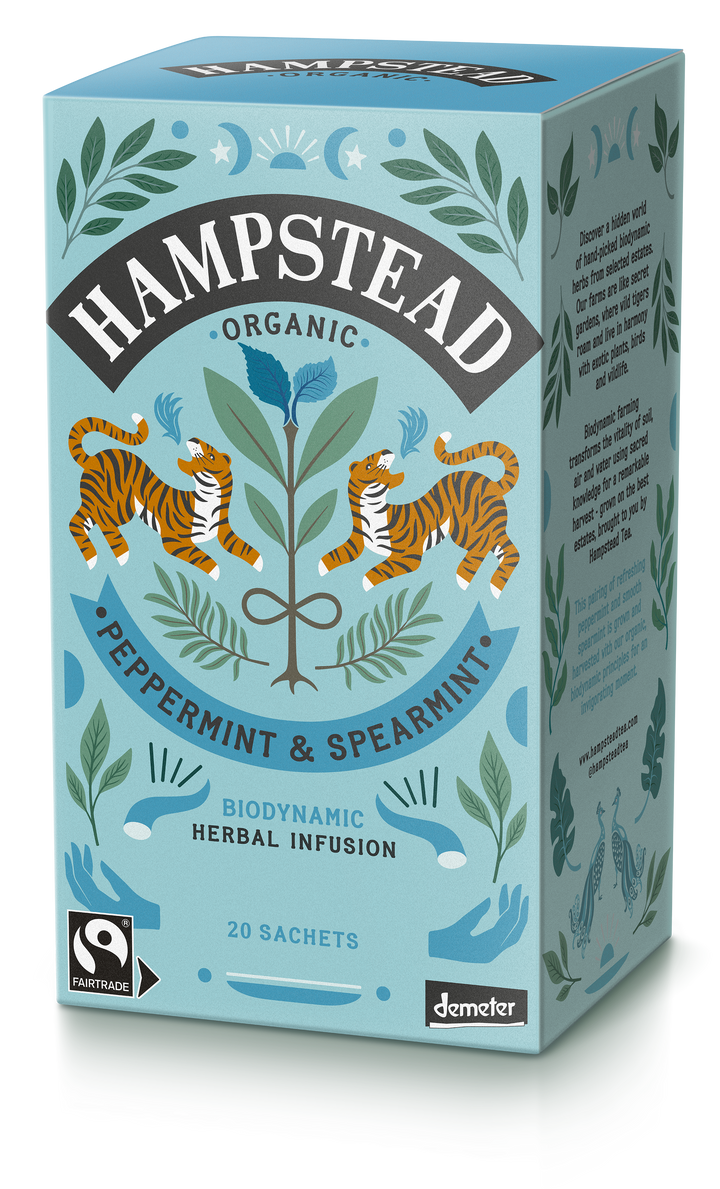Trade Case of Organic, Fairtrade Peppermint & Spearmint  4x20 Tea Bags - Hampstead Tea - Biodynamic and Organic Teas