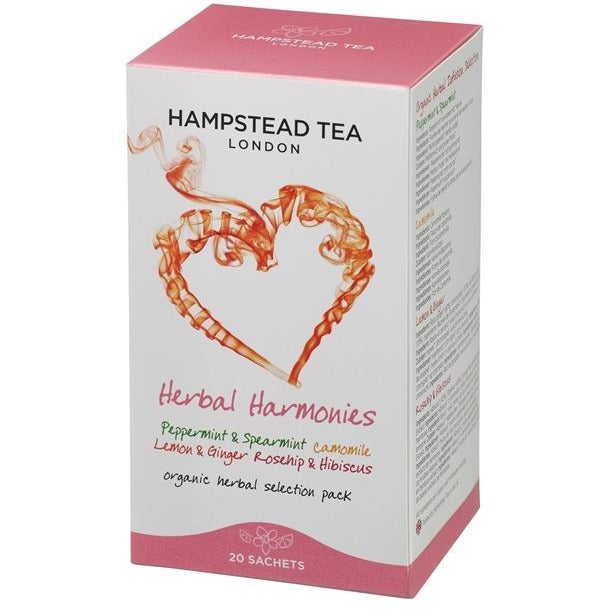 Trade Case of Organic Herbal Infusions Selection 4x20 Tea Bags - Hampstead Tea - Biodynamic and Organic Teas