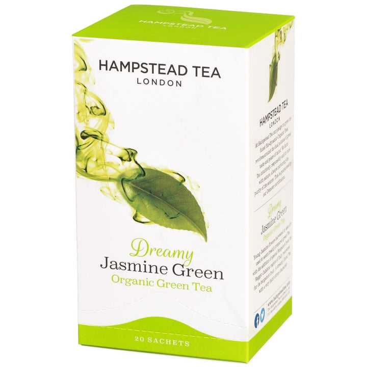 Trade Case of Organic Jasmine Green 4x20 Tea Bags - Hampstead Tea - Biodynamic and Organic Teas