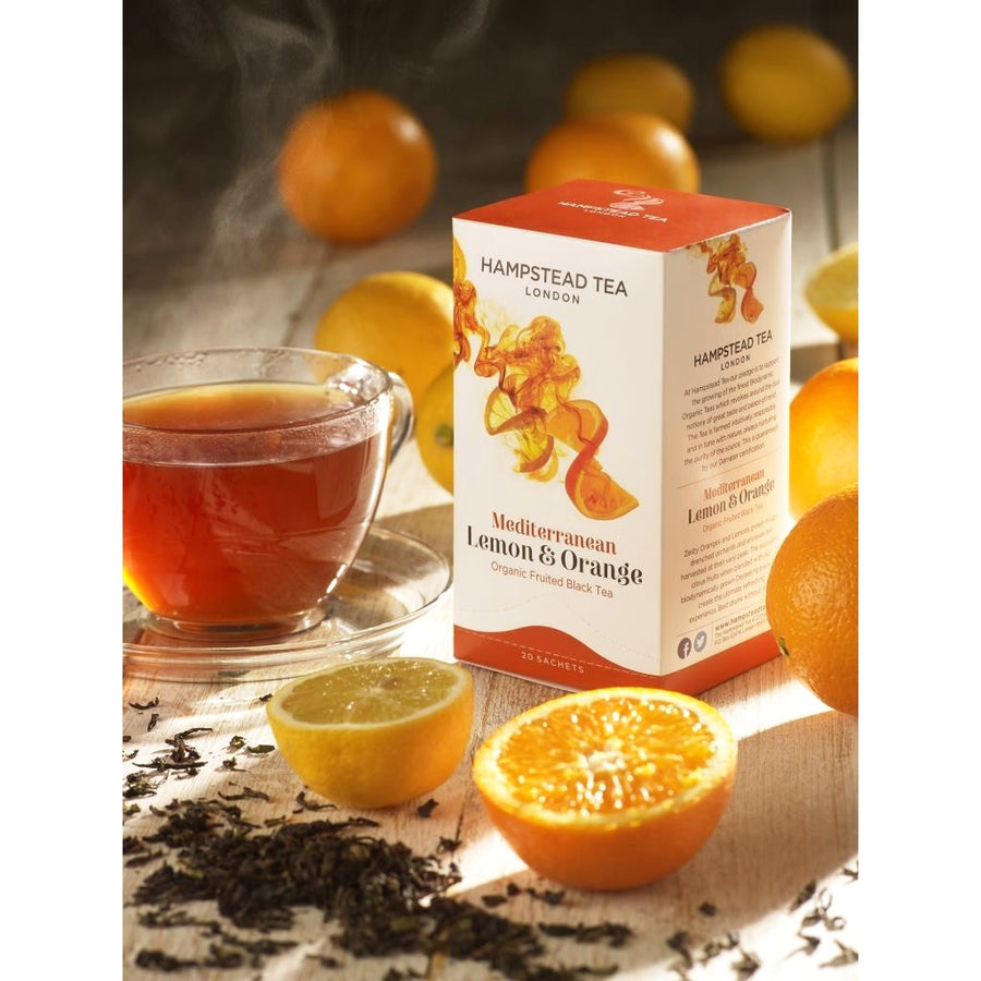 Trade Case of Organic Lemon and Orange Tea 4x20 Tea Bags - Hampstead Tea - Biodynamic and Organic Teas