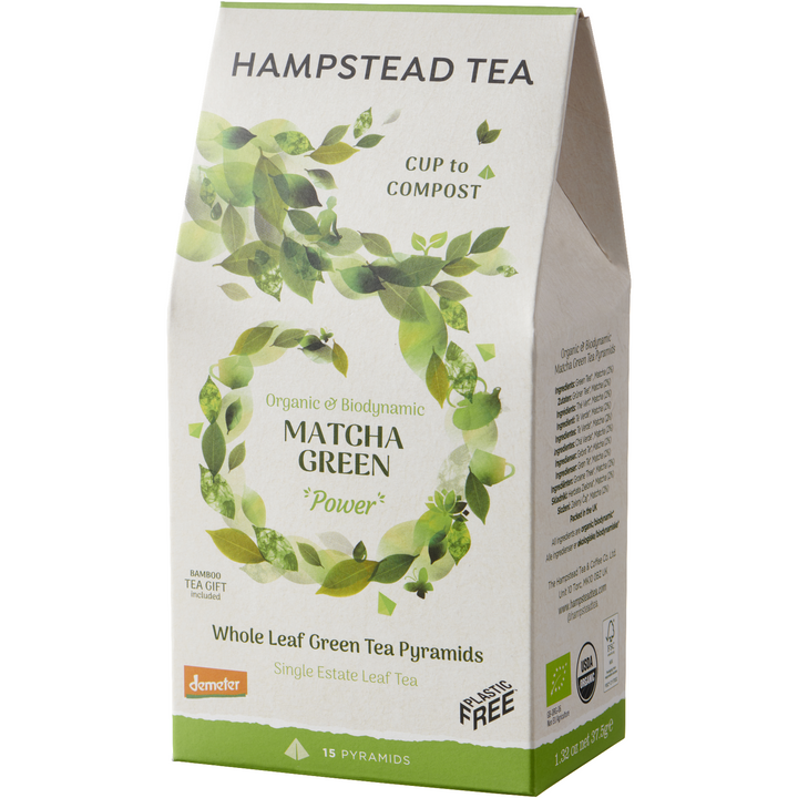 Organic & Biodynamic Matcha Green Home Compostable Pyramids - Hampstead Tea - Biodynamic and Organic Teas