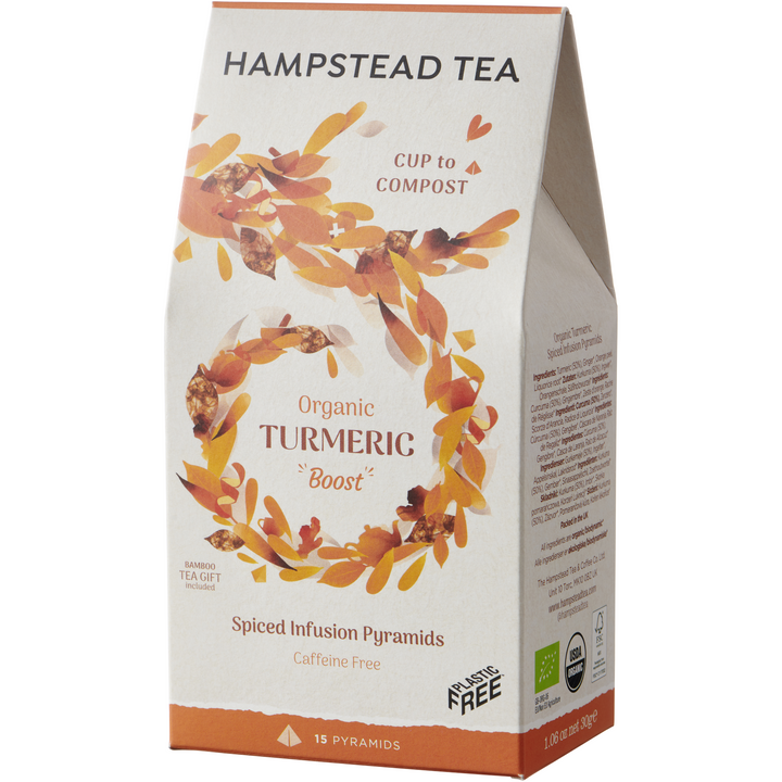 Organic Turmeric Home Compostable Pyramids - Hampstead Tea - Biodynamic and Organic Teas