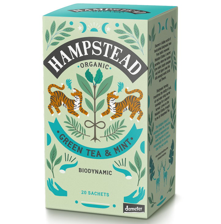 Hampstead Tea Organic Green Tea with Mint Tea Bags - Hampstead Tea - Biodynamic and Organic Teas