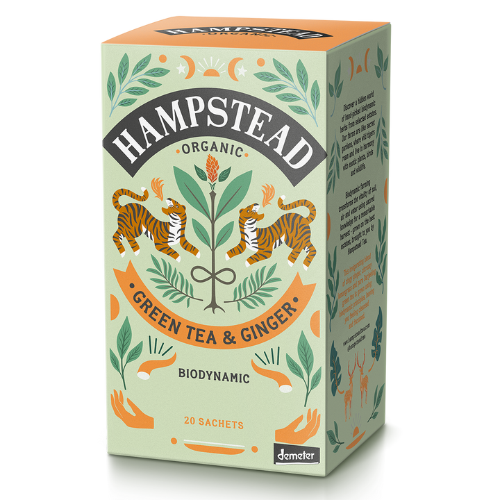 Hampstead Tea Organic Zesty Ginger Green Tea Bags - Hampstead Tea - Biodynamic and Organic Teas