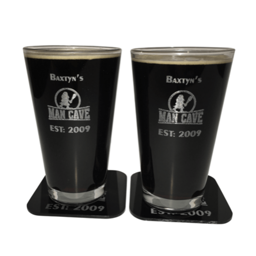 Man Cave Personalized Pint Glasses