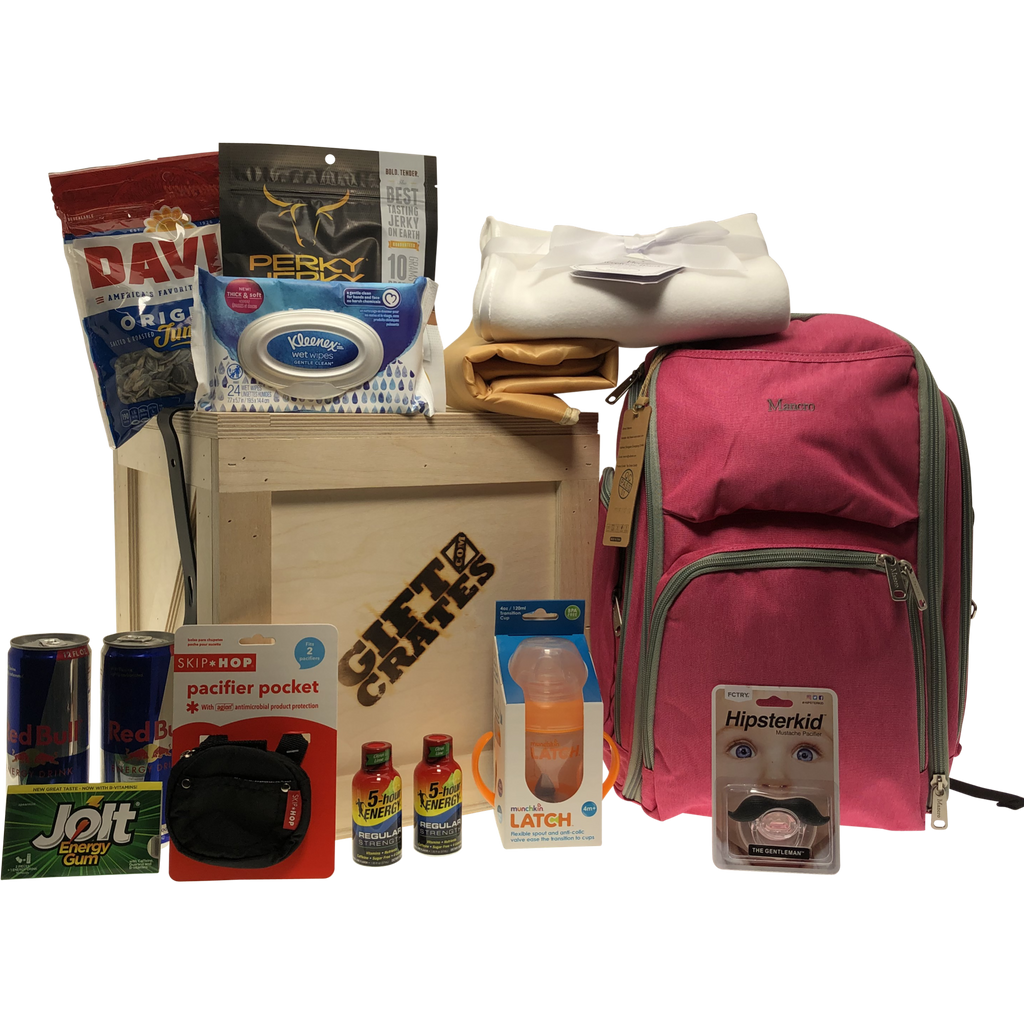 New Parents Backpack Gift Crate Red