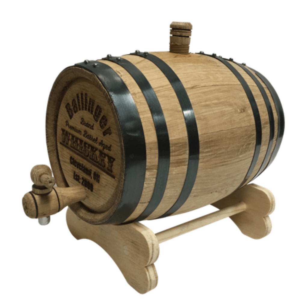 Engraved Oak Whiskey Barrel