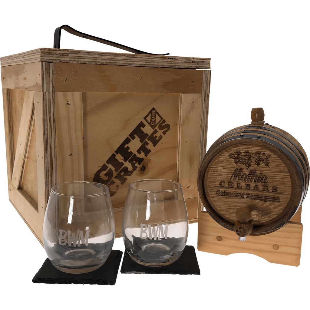 Wine barrel with glasses in gift crate