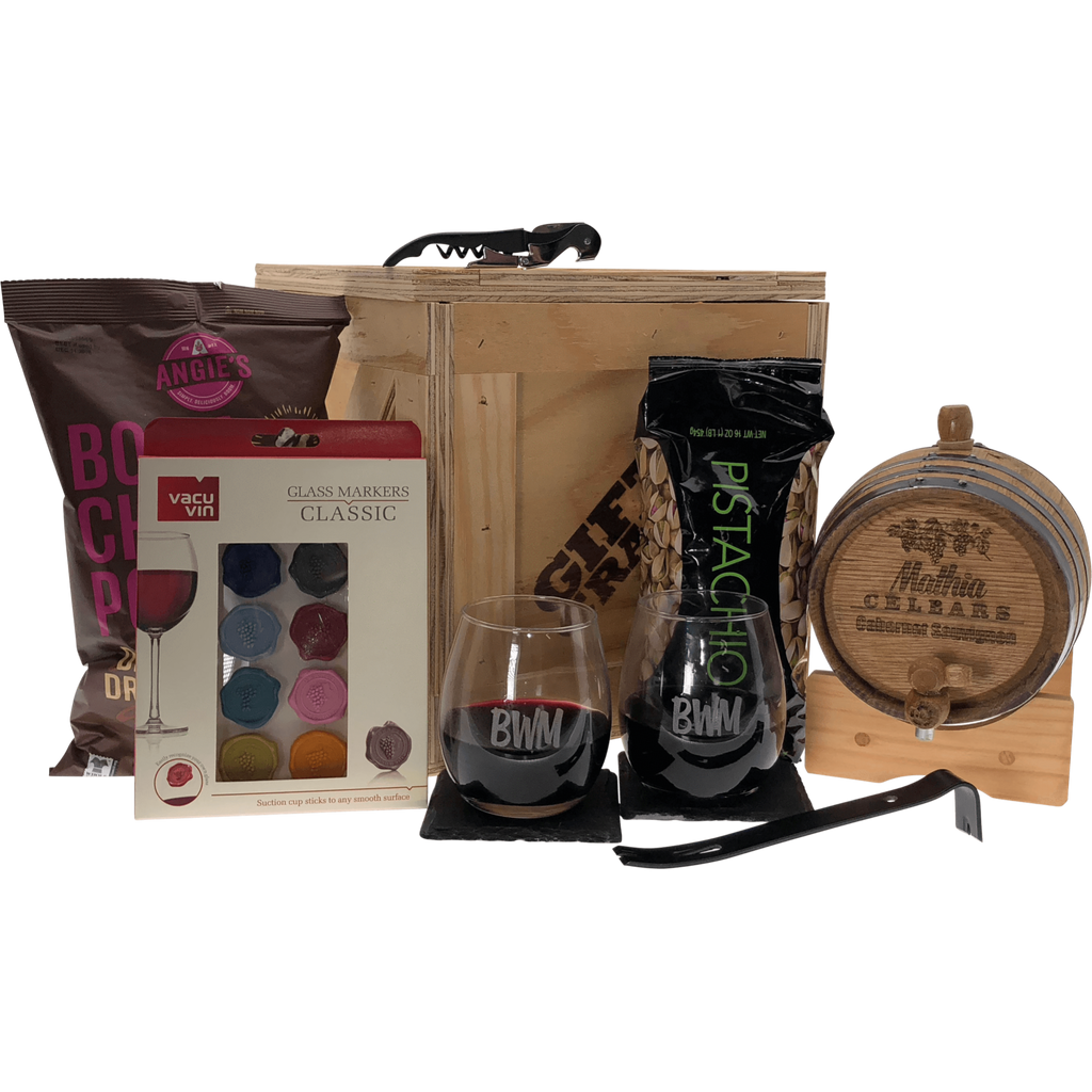 Oak wine barrel gift set