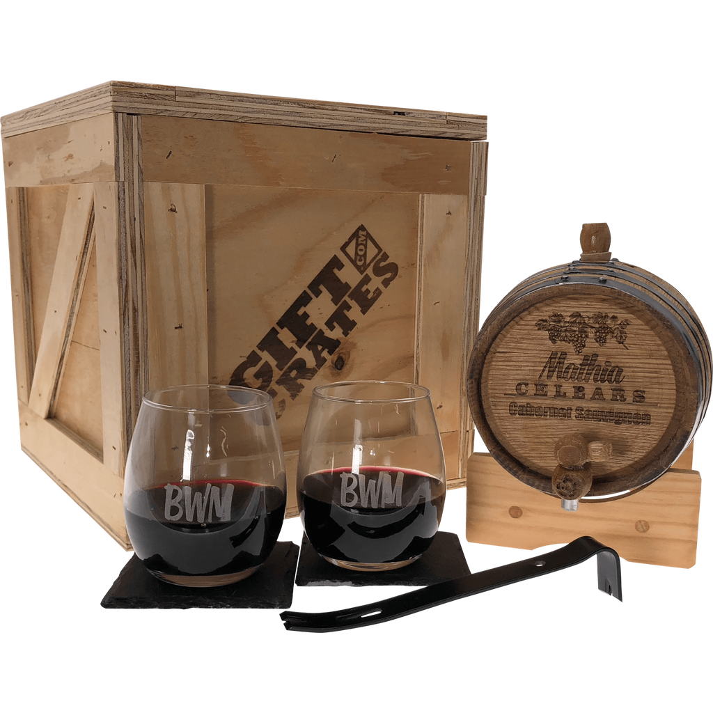 Oak Wine Barrel Gift Crate