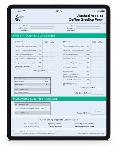 SCA Washed Arabica Coffee Grading Form (Digital)