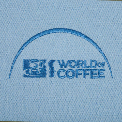 Blue Mens  Polo Shirt with World of Coffee logo