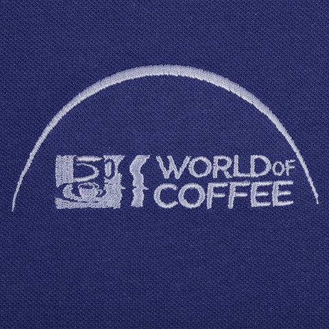 Indigo Mens  Polo Shirt with World of Coffee logo