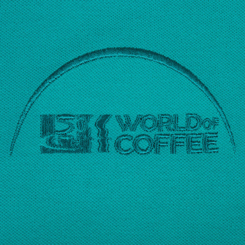 Turquoise Mens  Polo Shirt with World of Coffee logo