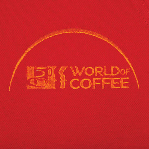 Red Ladies Polo Shirt with World of Coffee logo