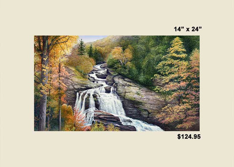 """Cullasaja Falls in Autumn"" <br> Paper or Canvas Print"