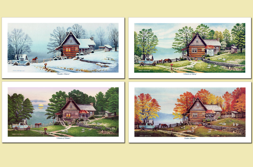 4 Seasons Cabin Paper Mini Prints Set of 4