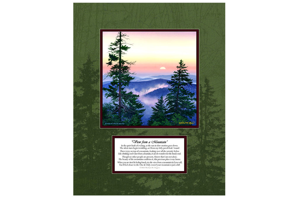 """Smoky Mtn. Sunset"" Canvas with Poem  Printed Border"