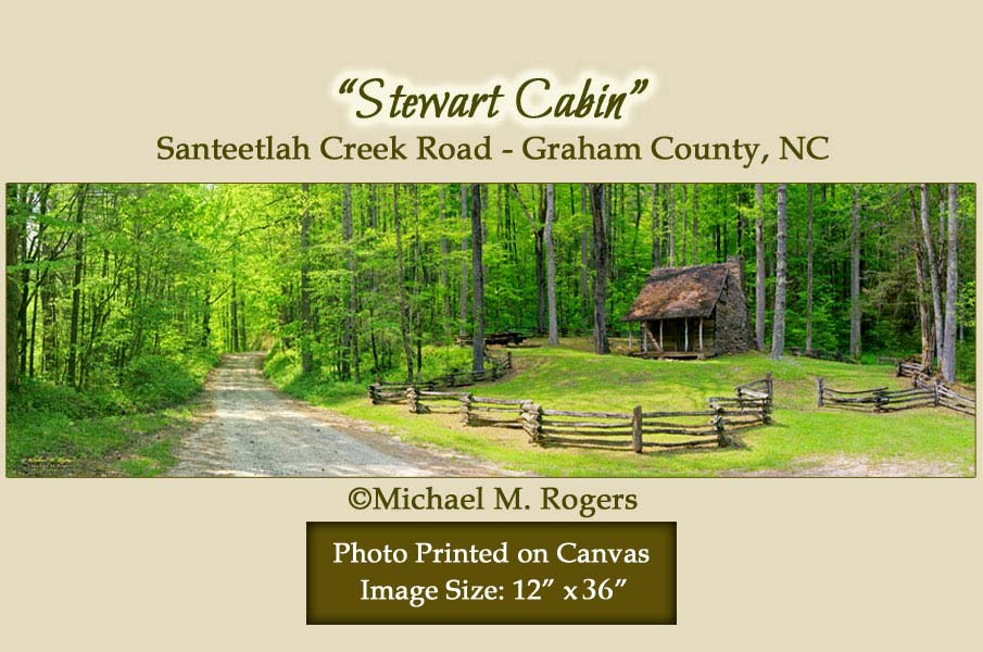 """Stewart Cabin"" Santeetlah Creek Road 12"" x 36"" Canvas"