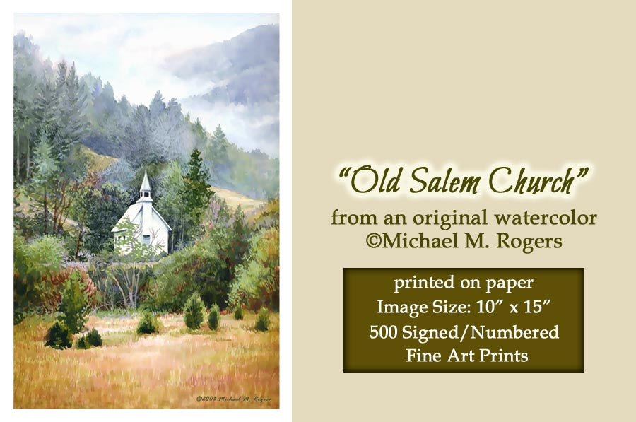 """Old Salem Church"" Fine Art Print On Paper"
