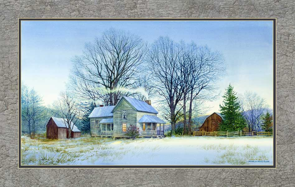 """Watson Lane Winter Farm"" Canvas Print"
