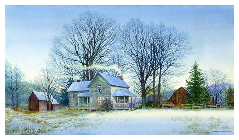"""Watson Lane Winter Farm"" Original Watercolor"