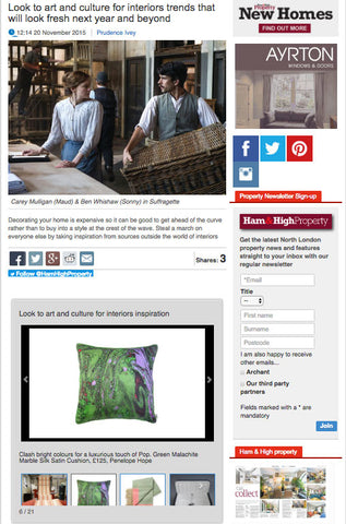 Penelope Hope Malachite Marble Cushion features in Ham & High Property Blog Post