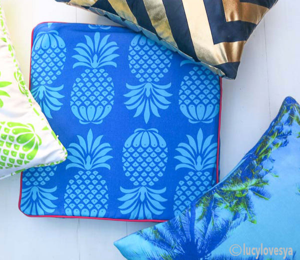 Penelope Hope Pina Colada Blue Mix Cotton Fabric- cushion by Lucy Loves Ya Blog