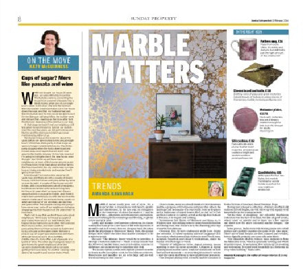 Marble Matters Article featuring Penelope Hope Malachite Marble Cushion