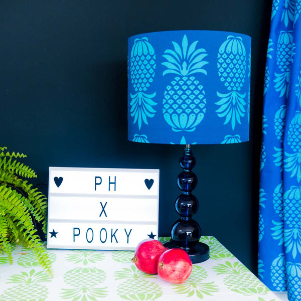 Blue Pineapple Lampshade and fabric by Penelope Hope