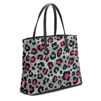 Grey Leopard Print Leather Tote Bag