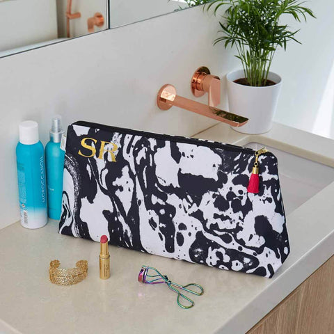 Personalised Mono Marble Waterproof Large Wash Bag by Penelope Hope