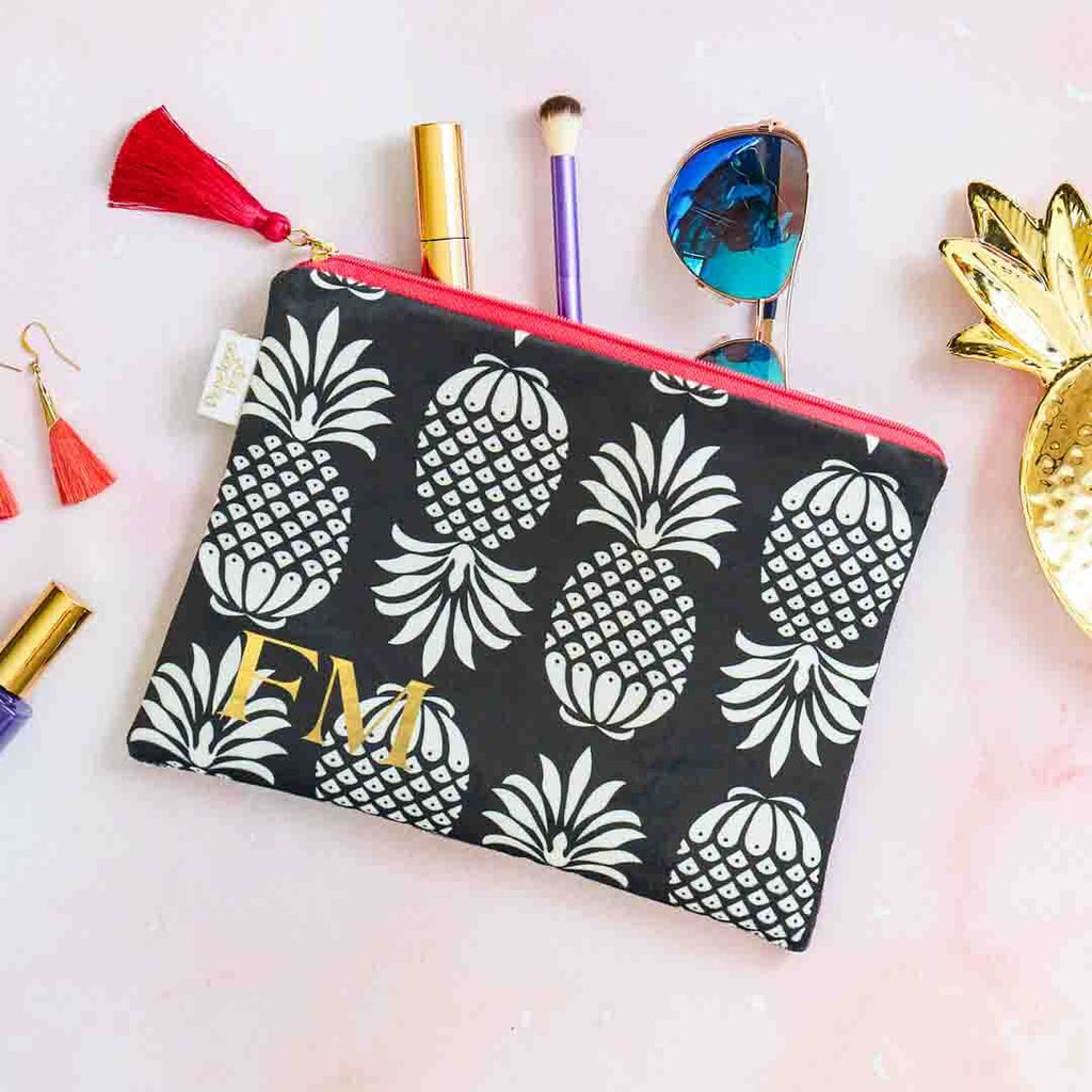 Pineapple Velvet Pouch in Black and White by Penelope Hope
