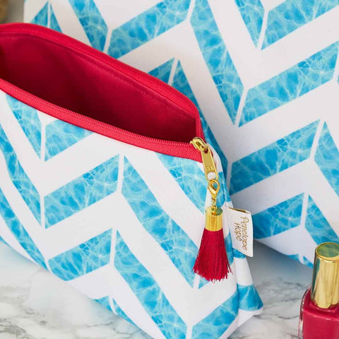 Blue Chevron Print Makeup Bag with Pink Lining by Penelope Hope