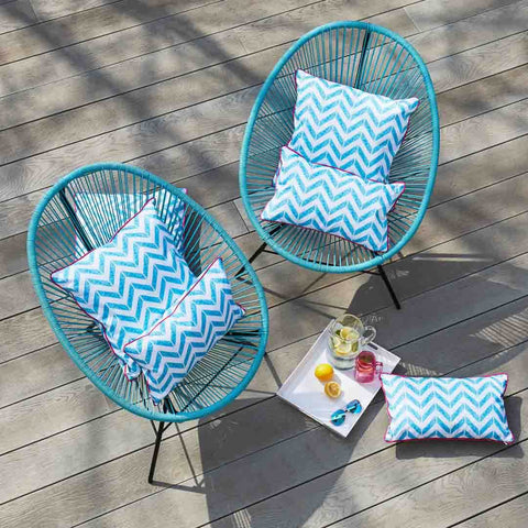 Outdoor Cushions in let's Take a Dip! print on garden chairs by Penelope Hope