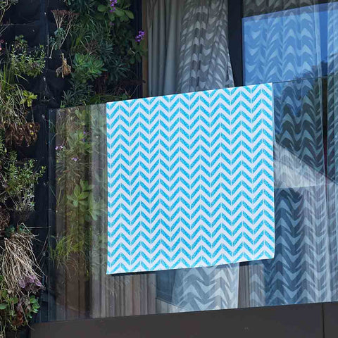Chevron Print Blue Outdoor Fabric by Penelope Hope