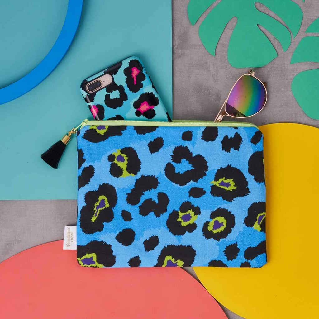 Blue and Yellow Leopard Print Pouch by Penelope Hope