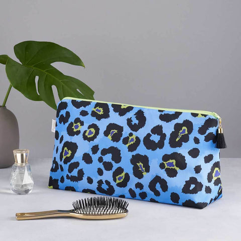 Blue Leopard Print Large Waterproof Wash Bag