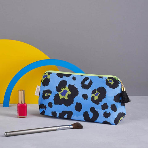 Blue Leopard Print Makeup Bag
