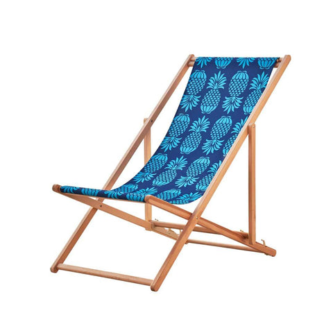 Beach Deckchair in Blue Pineapple print by Penelope Hope