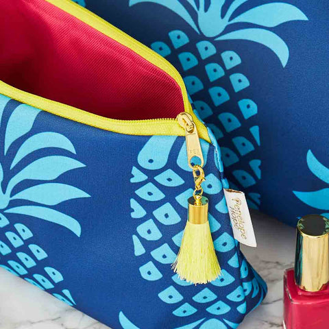 Blue Pineapple Travel Makeup Bag with Pink Lining by Penelope Hope